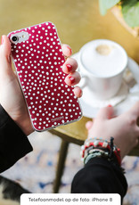 FOONCASE iPhone 8 hoesje TPU Soft Case - Back Cover - POLKA COLLECTION / Stipjes / Stippen / Bordeaux Rood