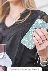 FOONCASE iPhone 8 Plus hoesje TPU Soft Case - Back Cover - POLKA COLLECTION / Stipjes / Stippen / Donker Groen