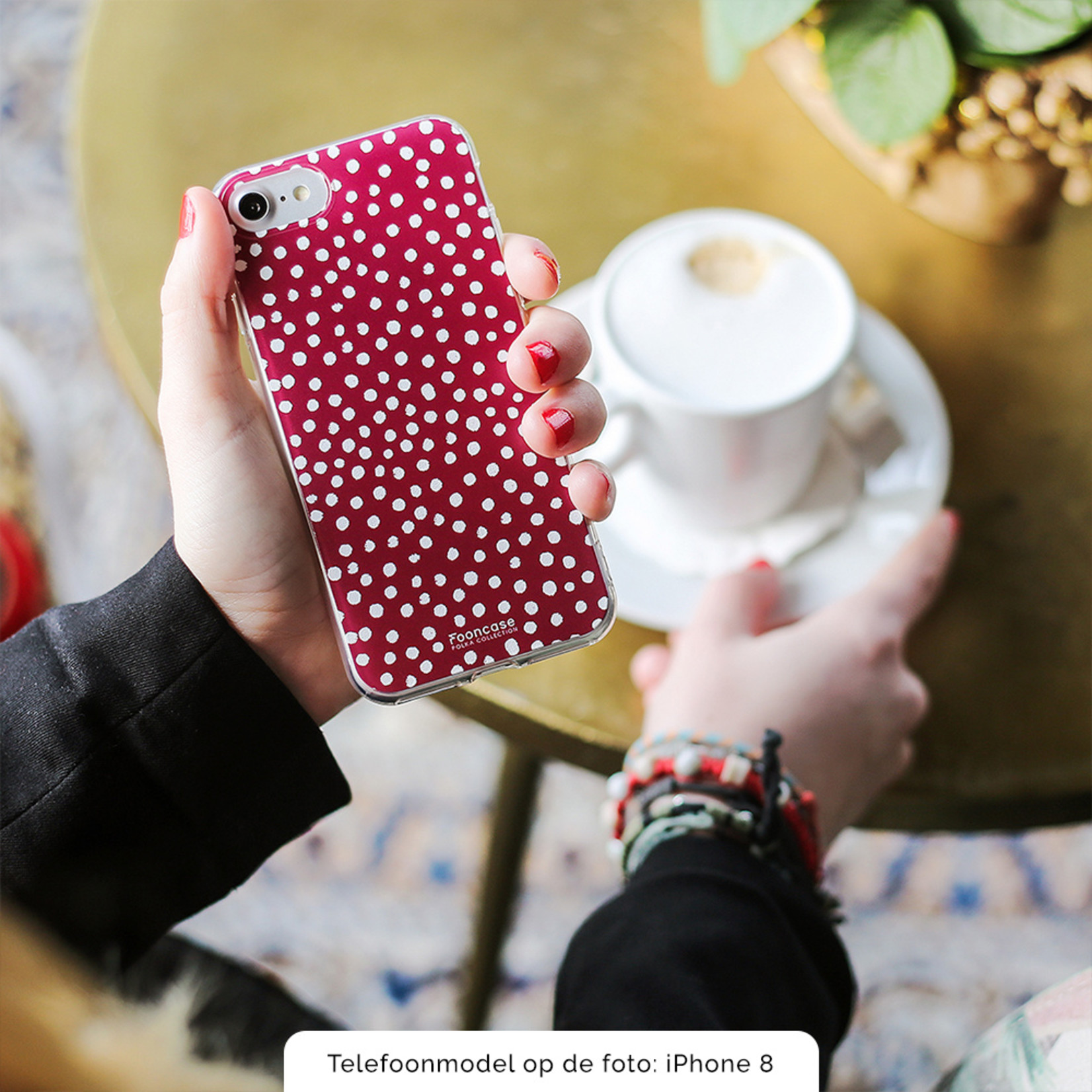 FOONCASE iPhone X hoesje TPU Soft Case - Back Cover - POLKA COLLECTION / Stipjes / Stippen / Bordeaux Rood