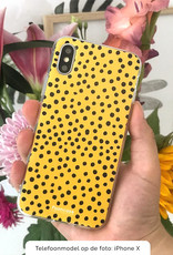 FOONCASE iPhone XS Max hoesje TPU Soft Case - Back Cover - POLKA COLLECTION / Stipjes / Stippen / Oker Geel