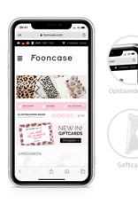 FOONCASE iPhone X hoesje TPU Soft Case - Back Cover - Funky Bohemian / Blauw Roze Bladeren