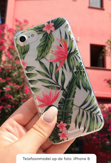 FOONCASE Samsung Galaxy A7 2018 hoesje TPU Soft Case - Back Cover - Tropical Desire / Bladeren / Roze
