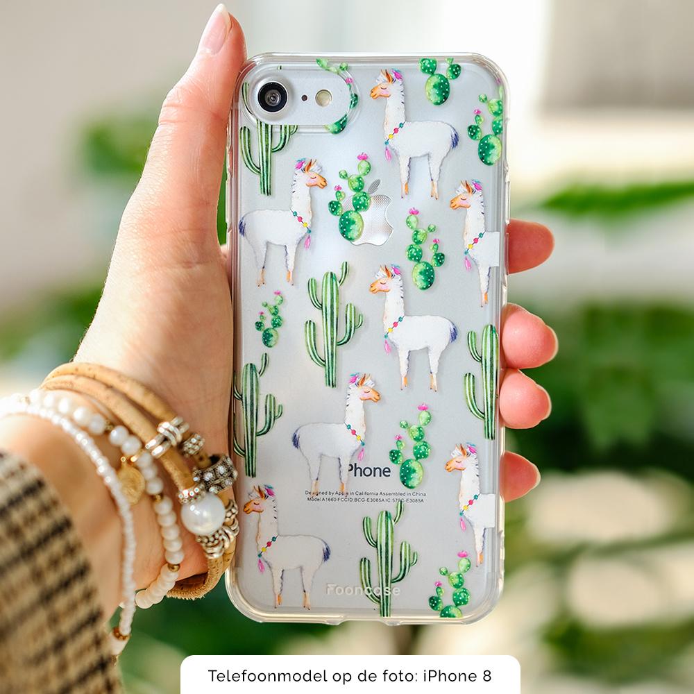 FOONCASE Samsung Galaxy A7 2018 hoesje TPU Soft Case - Back Cover - Alpaca / Lama