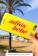 FOONCASE iPhone 8 hoesje TPU Soft Case - Back Cover - Adiós Bébé ☀ / Geel & Roze