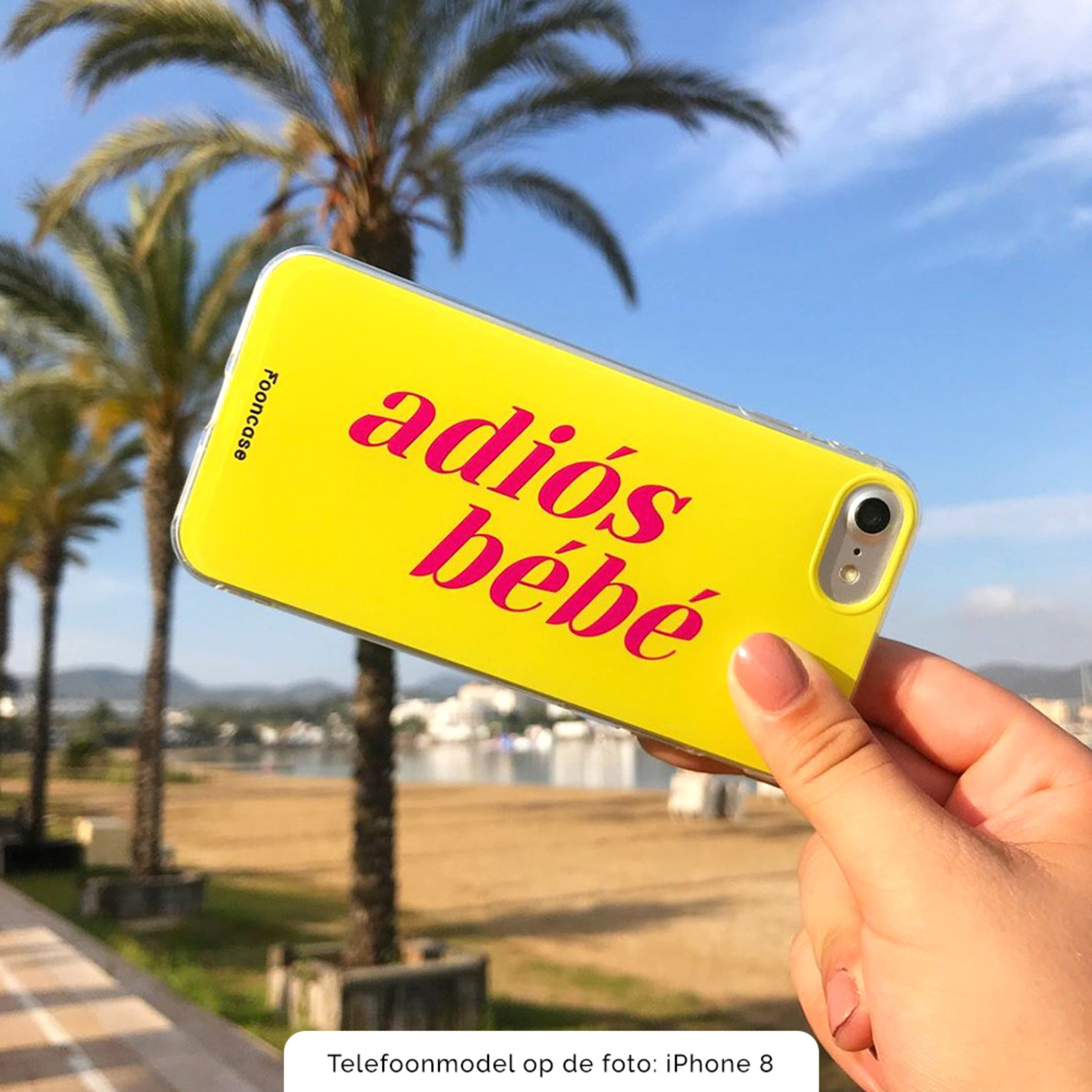 FOONCASE iPhone 7 Plus hoesje TPU Soft Case - Back Cover - Adiós Bébé ☀ / Geel & Roze