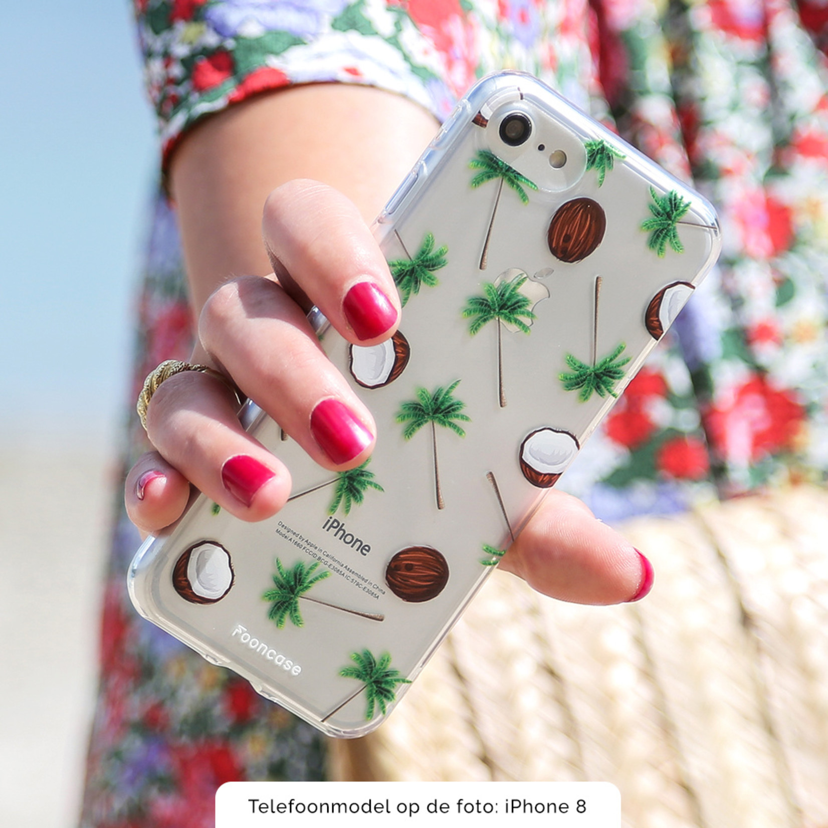 FOONCASE iPhone 7 Plus hoesje TPU Soft Case - Back Cover - Coco Paradise / Kokosnoot / Palmboom