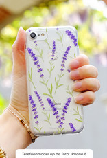 FOONCASE Samsung Galaxy A50 hoesje TPU Soft Case - Back Cover - Purple Flower / Paarse bloemen
