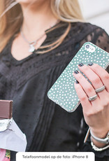 FOONCASE Samsung Galaxy A50 hoesje TPU Soft Case - Back Cover - POLKA COLLECTION / Stipjes / Stippen / Donker Groen