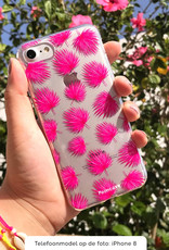 FOONCASE iPhone 11 hoesje TPU Soft Case - Back Cover - Pink leaves / Roze bladeren