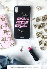 iPhone X hoesje TPU Soft Case - Back Cover - Rebell Leopard Sterren Roze