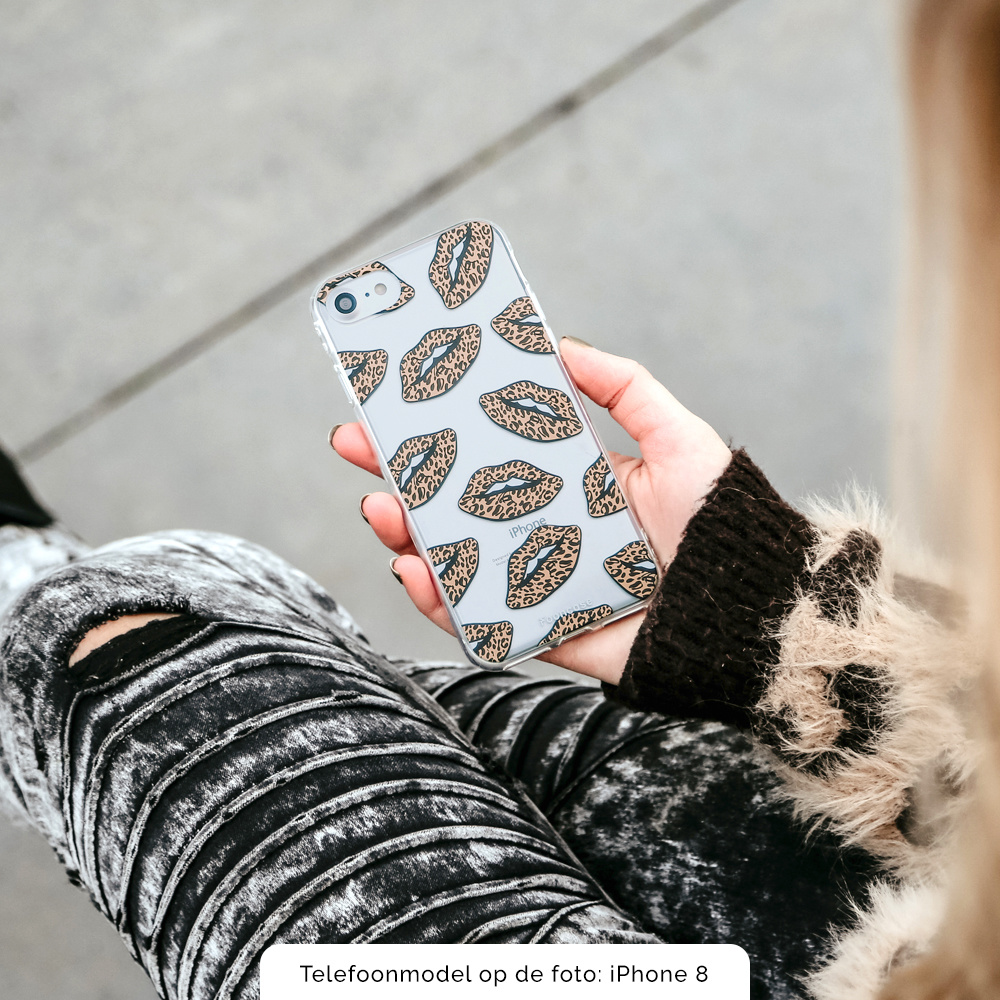 iPhone XS hoesje TPU Soft Case - Rebell Leopard Lips (leopard lippen)