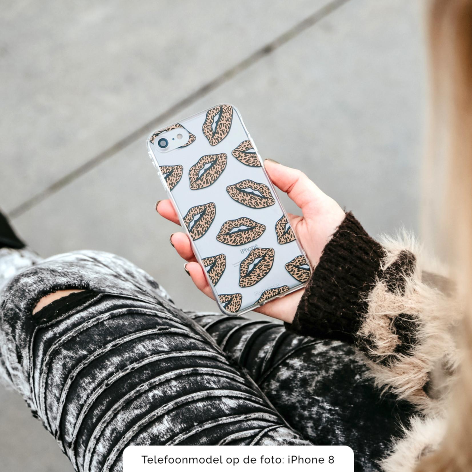 iPhone XR hoesje TPU Soft Case - Back Cover - Rebell Leopard Lips (leopard lippen)