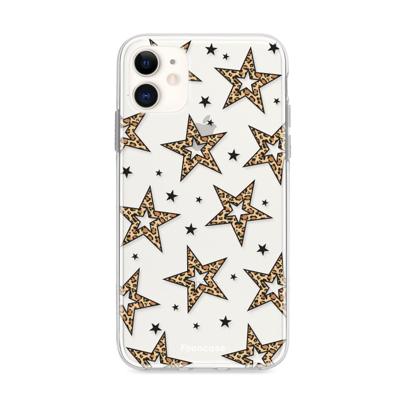 iPhone 11 hoesje TPU Soft Case - Back Cover - Rebell Leopard Sterren Transparant