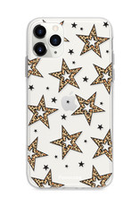 iPhone 11 Pro hoesje TPU Soft Case - Back Cover - Rebell Leopard Sterren Roze Transparant