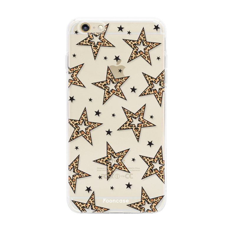 iPhone 6 / 6S hoesje TPU Soft Case - Back Cover - Rebell Leopard Sterren Transparant