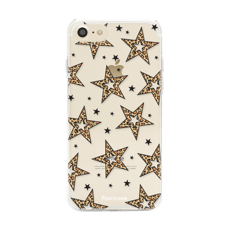 iPhone 8 hoesje TPU Soft Case - Back Cover - Rebell Leopard Sterren Transparant