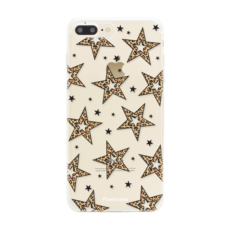 iPhone 7 Plus hoesje TPU Soft Case - Back Cover - Rebell Leopard Sterren Transparant