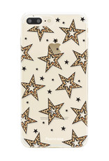 iPhone 8 Plus hoesje TPU Soft Case - Back Cover - Rebell Leopard Sterren Transparant