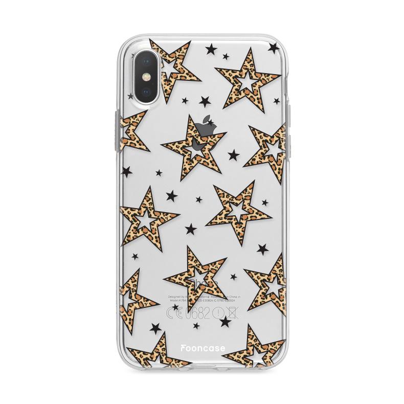 iPhone X hoesje TPU Soft Case - Back Cover - Rebell Leopard Sterren Transparant