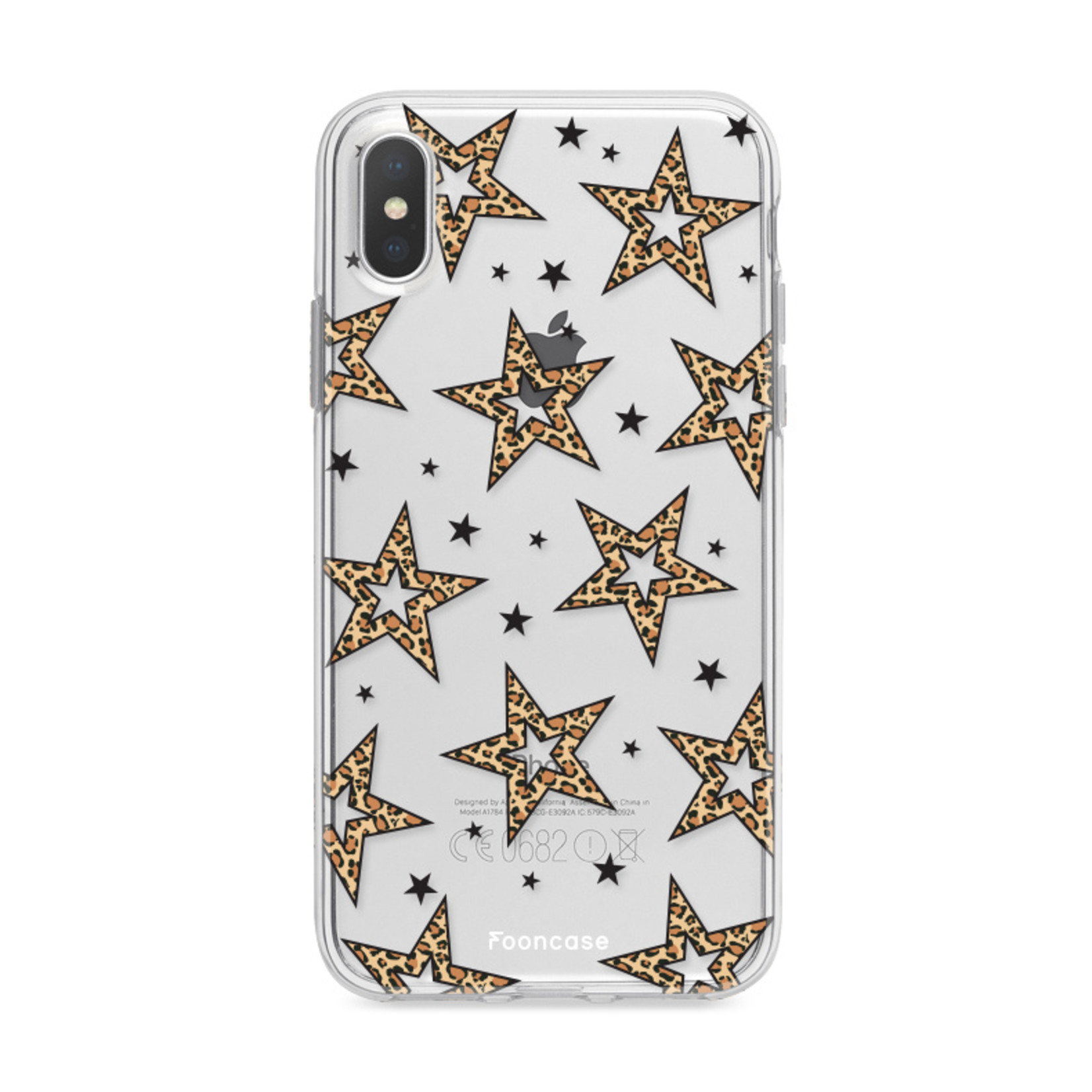 iPhone XS hoesje TPU Soft Case - Back Cover - Rebell Leopard Sterren Transparant