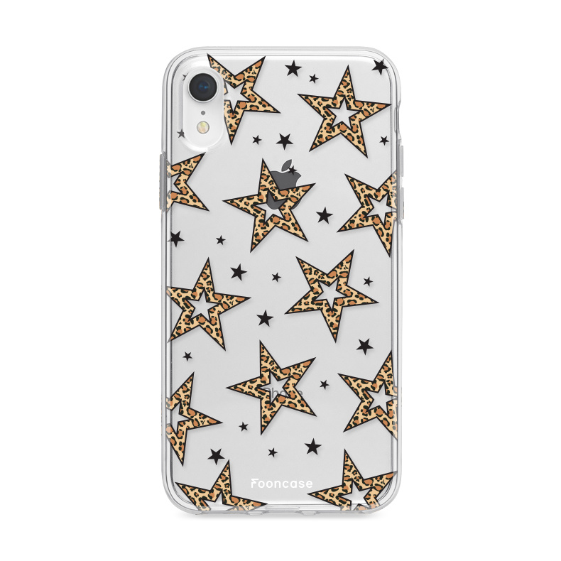 iPhone XR hoesje TPU Soft Case - Back Cover - Rebell Leopard Sterren Transparant