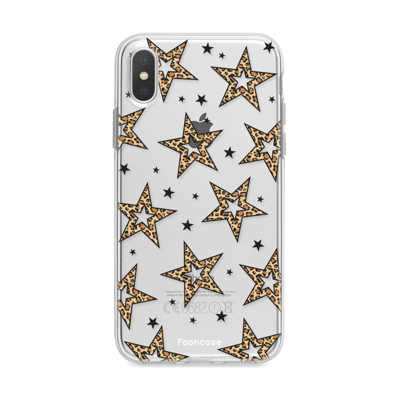 iPhone XS Max hoesje TPU Soft Case - Back Cover - Rebell Leopard Sterren Transparant