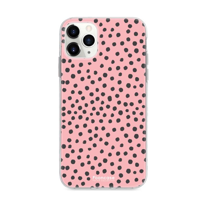 FOONCASE iPhone 11 Pro hoesje TPU Soft Case - Back Cover - POLKA COLLECTION / Stipjes / Stippen / Roze
