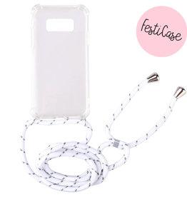 FOONCASE Samsung Galaxy S10e - Festicase White (Phone case with cord)
