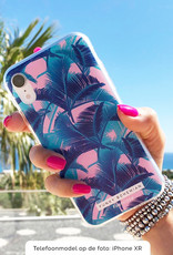 FOONCASE Samsung Galaxy S20 Ultra hoesje TPU Soft Case - Back Cover - Funky Bohemian / Blauw Roze Bladeren