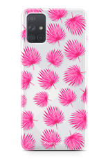 Samsung Galaxy A51 hoesje TPU Soft Case - Back Cover - Pink leaves / Roze bladeren