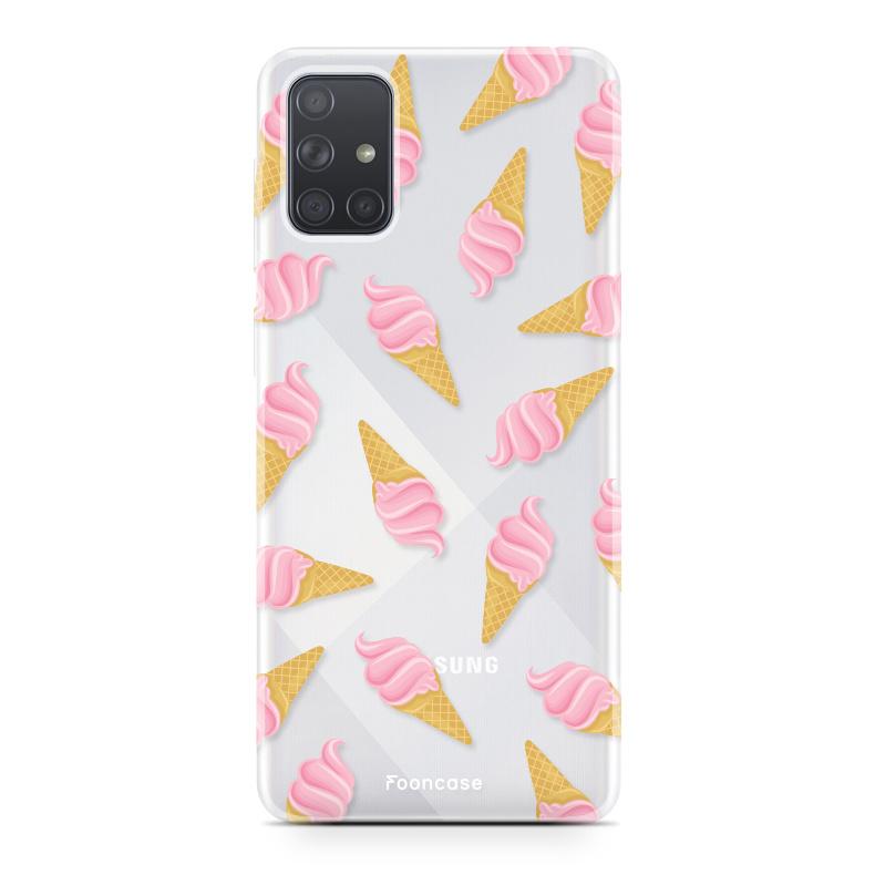 Samsung Galaxy A51 hoesje TPU Soft Case - Back Cover - Ice Ice Baby / Ijsjes / Roze ijsjes