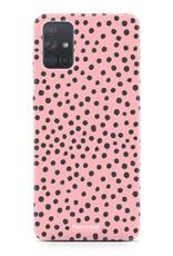 Samsung Galaxy A51 hoesje TPU Soft Case - Back Cover - POLKA COLLECTION / Stipjes / Stippen / Roze