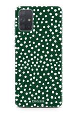 Samsung Galaxy A51 hoesje TPU Soft Case - Back Cover - POLKA COLLECTION / Stipjes / Stippen / Donker Groen