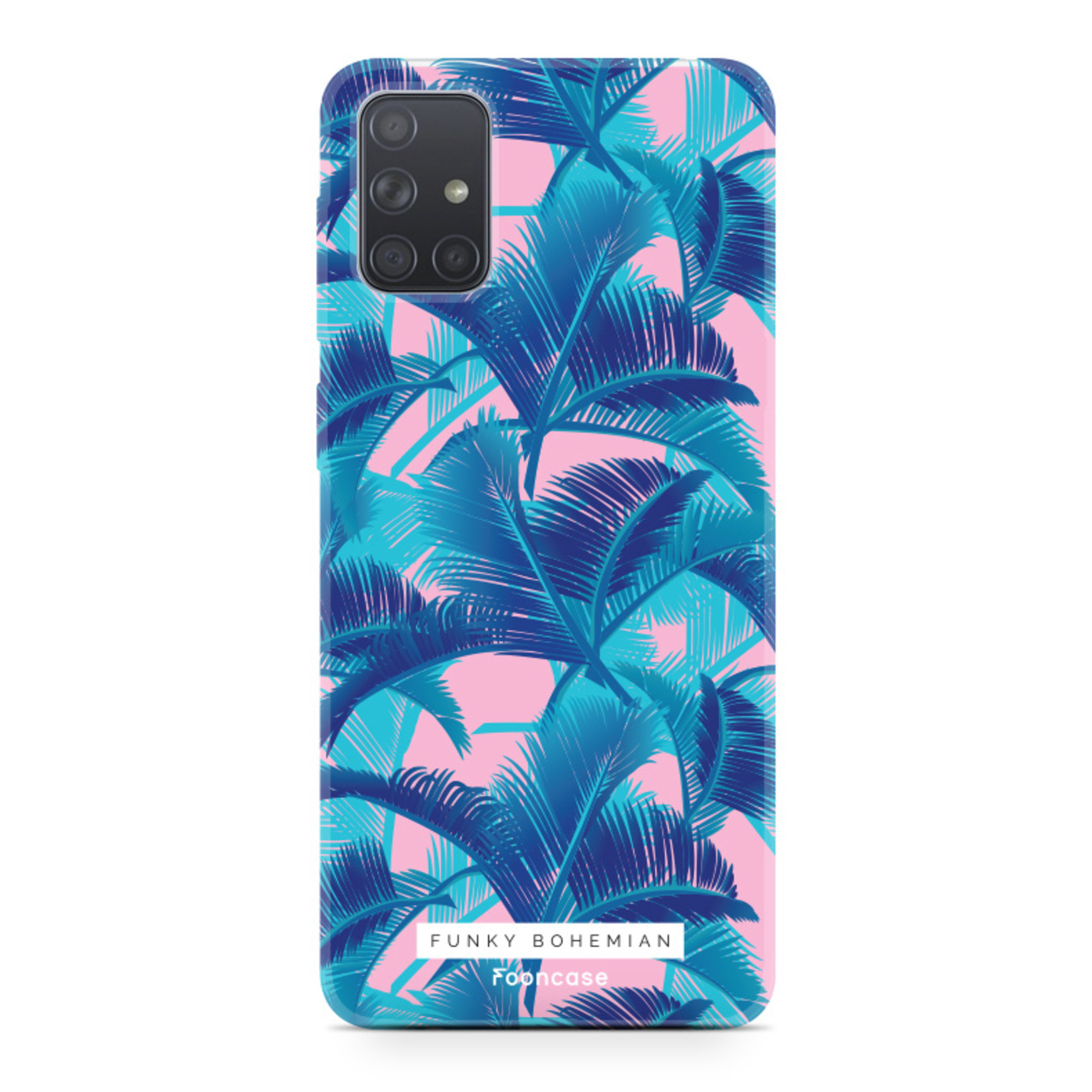 Samsung Galaxy A51 hoesje TPU Soft Case - Back Cover - Funky Bohemian / Blauw Roze Bladeren