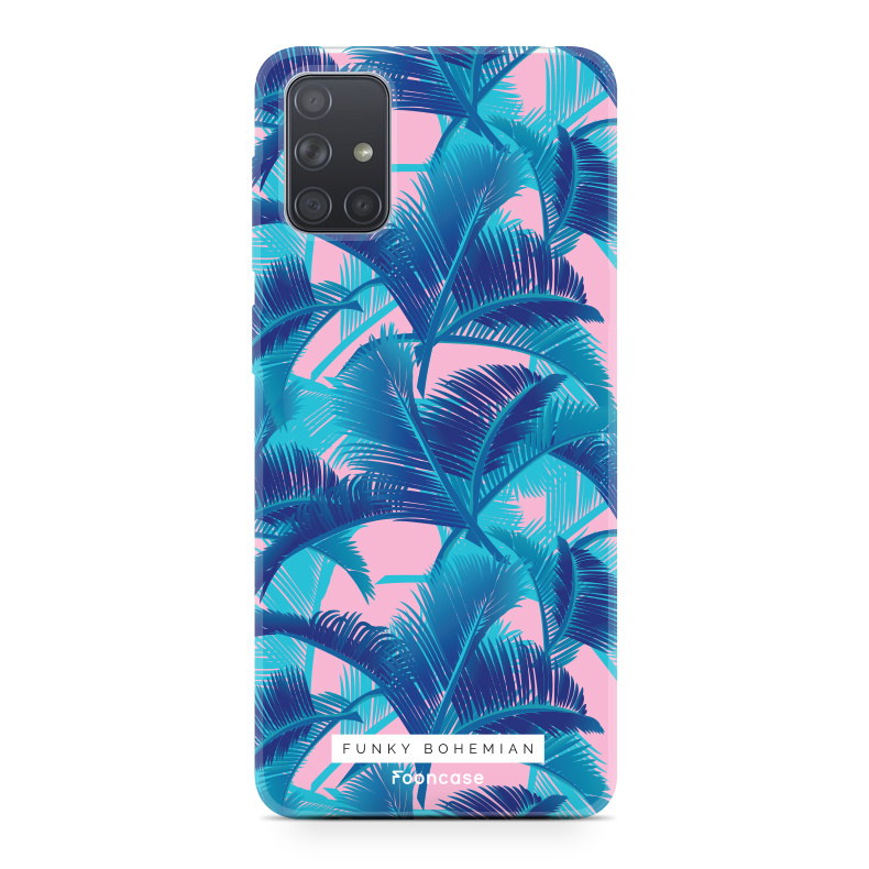 Samsung Galaxy A51 hoesje TPU Soft Case - Back Cover - Funky Bohemian / Blauw Roze Bladeren