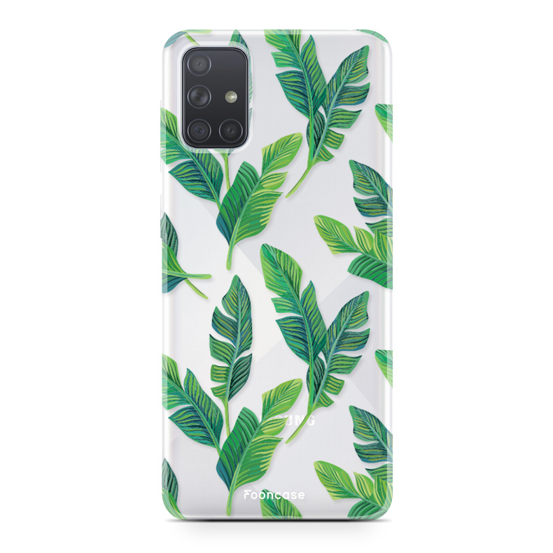 Samsung Galaxy A71 hoesje TPU Soft Case - Back Cover - Banana leaves / Bananen bladeren