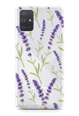 Samsung Galaxy A71 hoesje TPU Soft Case - Back Cover - Purple Flower / Paarse bloemen