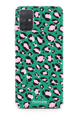 Samsung Galaxy A71 hoesje TPU Soft Case - Back Cover - WILD COLLECTION / Luipaard / Leopard print / Groen