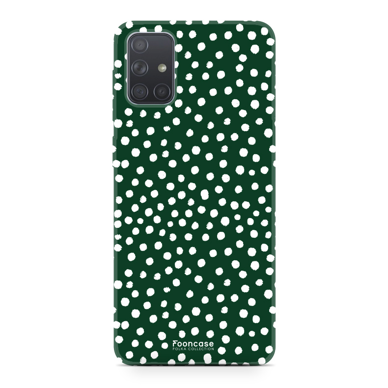 Samsung Galaxy A71 hoesje TPU Soft Case - Back Cover - POLKA COLLECTION / Stipjes / Stippen / Donker Groen