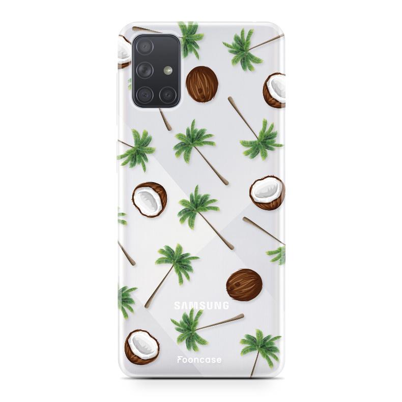 Samsung Galaxy A71 hoesje TPU Soft Case - Back Cover - Coco Paradise / Kokosnoot / Palmboom