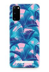FOONCASE Samsung Galaxy S20 hoesje TPU Soft Case - Back Cover - Funky Bohemian / Blauw Roze Bladeren