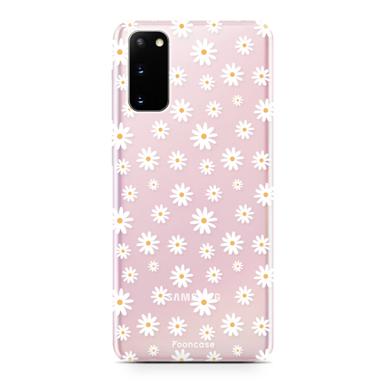 FOONCASE Samsung Galaxy S20 hoesje TPU Soft Case - Back Cover - Madeliefjes