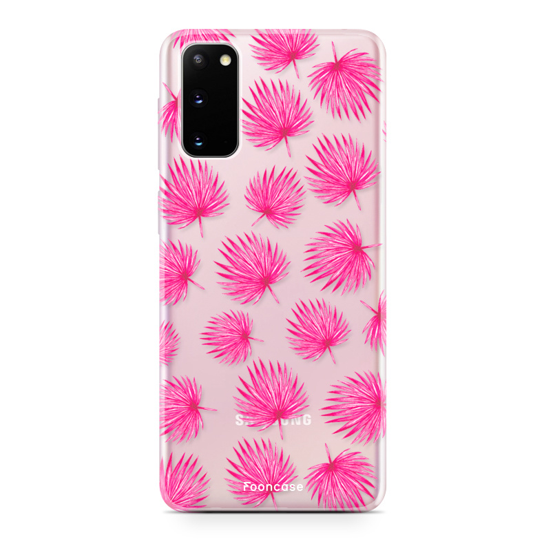 FOONCASE Samsung Galaxy S20 hoesje TPU Soft Case - Back Cover - Pink leaves / Roze bladeren