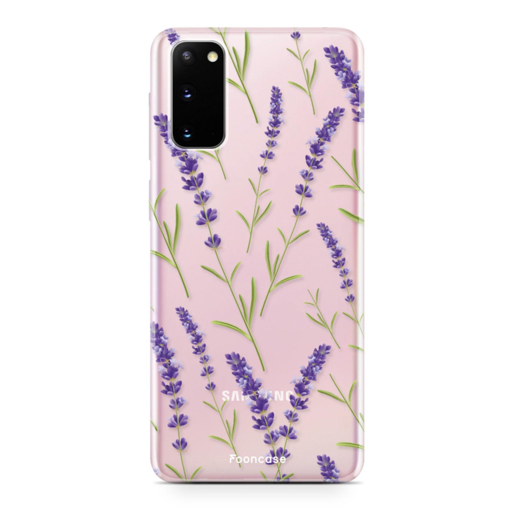 FOONCASE Samsung Galaxy S20 hoesje TPU Soft Case - Back Cover - Purple Flower / Paarse bloemen
