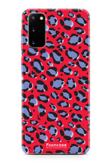 FOONCASE Samsung Galaxy S20 hoesje TPU Soft Case - Back Cover - WILD COLLECTION / Luipaard / Leopard print / Rood