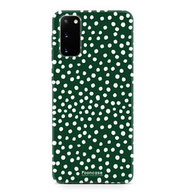 FOONCASE Samsung Galaxy S20 - POLKA COLLECTION / Donker Groen