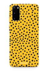 FOONCASE Samsung Galaxy S20 hoesje TPU Soft Case - Back Cover - POLKA COLLECTION / Stipjes / Stippen / Oker Geel