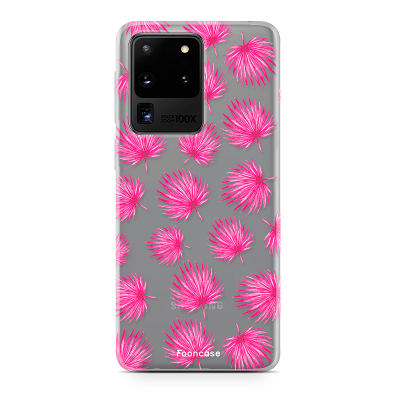 FOONCASE Samsung Galaxy S20 Ultra hoesje TPU Soft Case - Back Cover - Pink leaves / Roze bladeren