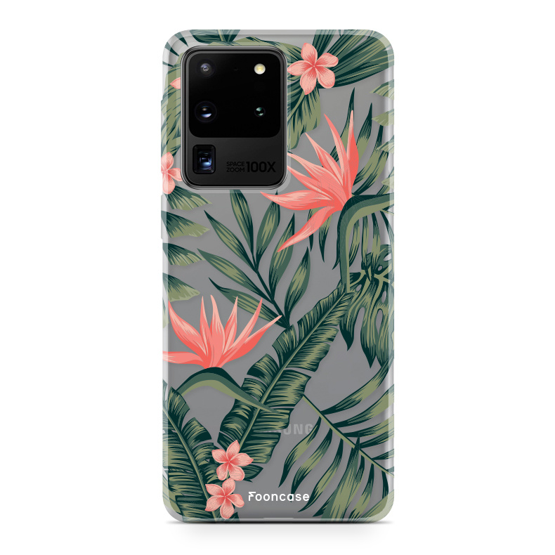 FOONCASE Samsung Galaxy S20 Ultra hoesje TPU Soft Case - Back Cover - Tropical Desire / Bladeren / Roze