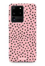 FOONCASE Samsung Galaxy S20 Ultra hoesje TPU Soft Case - Back Cover - POLKA COLLECTION / Stipjes / Stippen / Roze